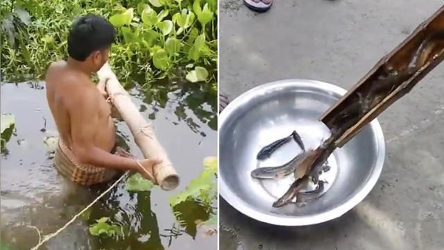 Villagers show simple, yet highly effective, fishing trap