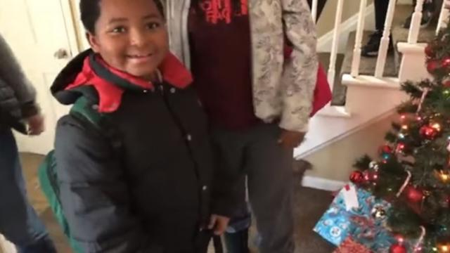 Heartwarming moment when this homeless 8-year-old boy is given an awesome Christmas present