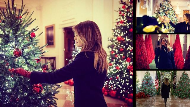 Melania Trump unveils patriotic White House Christmas decorations