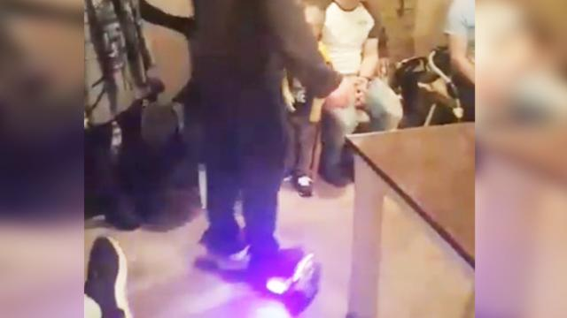 Dad shows off exactly why you shouldn't use a hoverboard indoors