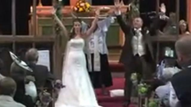 She Pronounces Them Man And Wife, Then The Music Starts And The Audience Bursts Into Hysterics