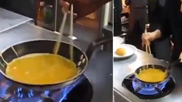 Japanese chef shows off amazing cooking skills with high-flying omelettes