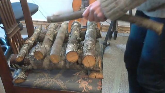 Playing music on natural maple wood sticks