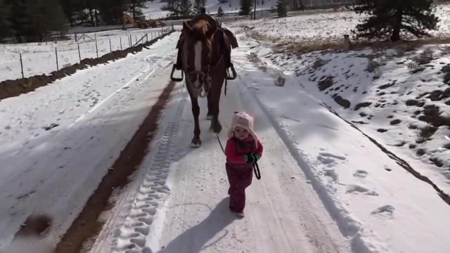 Emma and Cinnamon _ Little Girl and Horse Are Best Friends