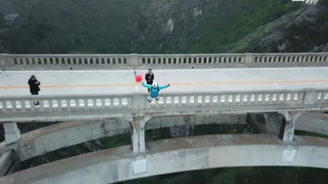 Awesome base jump drone footage