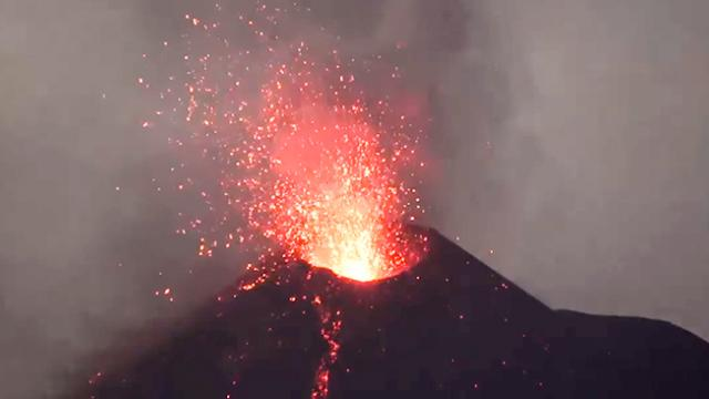 Lava Seen Spurting From Indonesian Volcano Short Distance From Danger Zone - Storyful Video