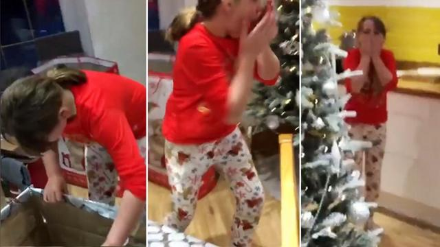 Girl opens gift from parents One look at what's inside—she