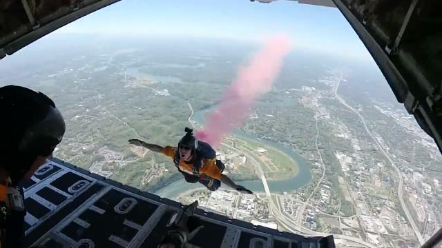 Navy Seals Parachute Into A Football Stadium. POV Footage Is Spectacular
