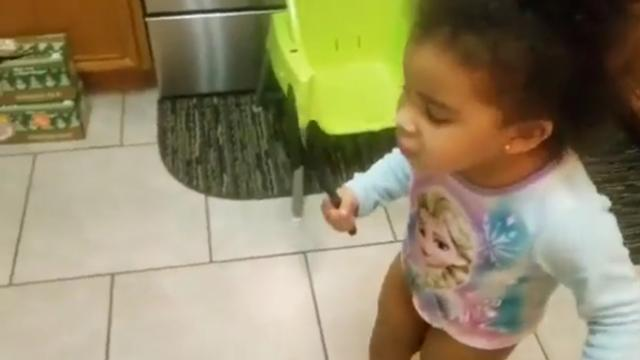 Adorable Age 3 Girl Defends Mother from Cricket