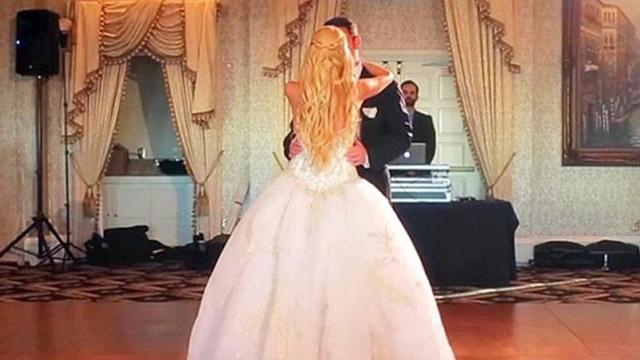 The music changes, then this Cinderella bride completely stuns her guests.