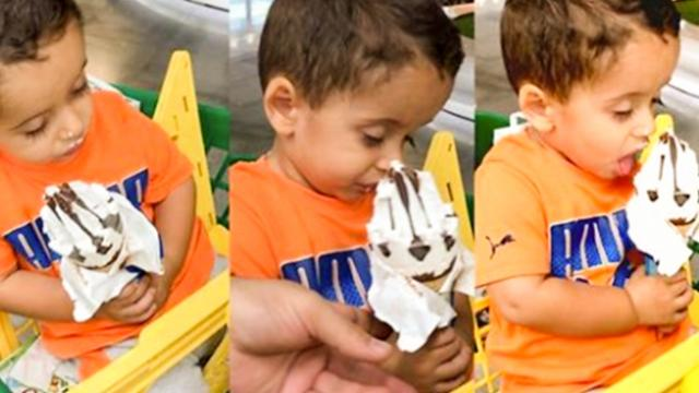 Adorable Toddler Falls Asleep But Won't Let Go Of His Ice-Cream