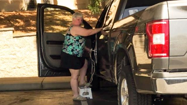 Smart grandma shows hilarious trick on how she gets inside a tall Ford truck by using a stool and an