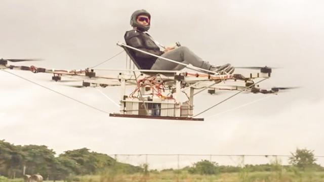 Octocopter Hoverboard First Solo Flight