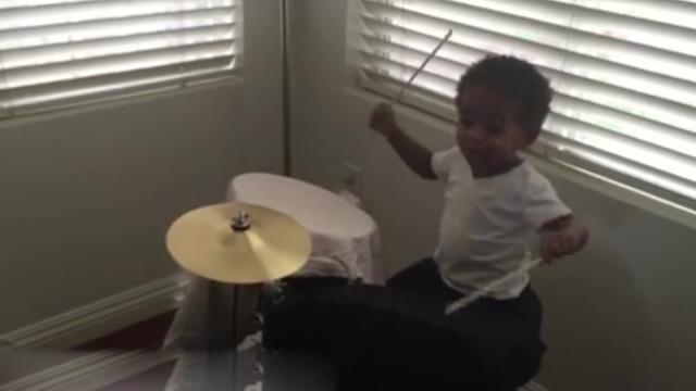 Little drummer boy and dad show off amazing musical skills in