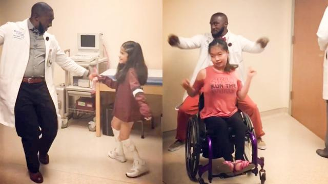 Sick Kids Haven't Smiled In Days Until The Dancing Doc Enters Their Room - YouTube
