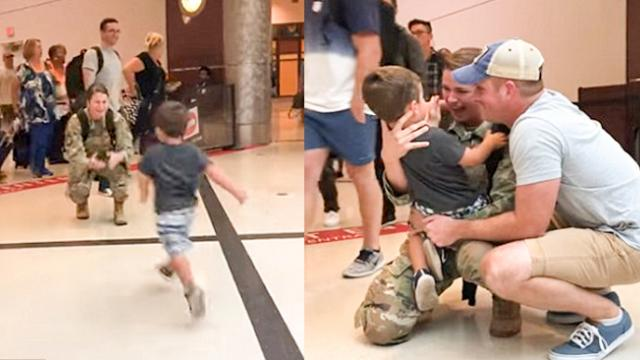 Military mom reduced to tears after being met by her toddler son and family at a Georgia airport -