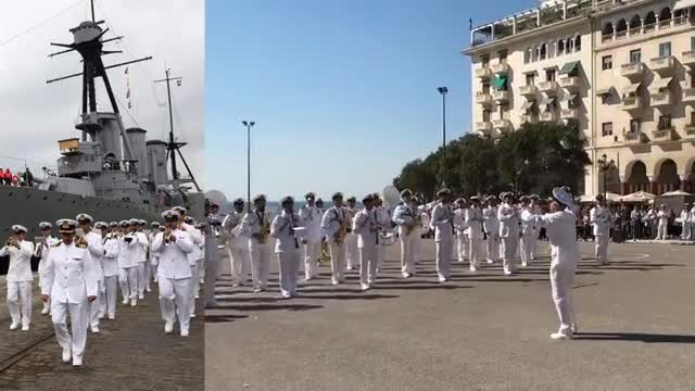 Greek navy band performs amazing Despacito cover