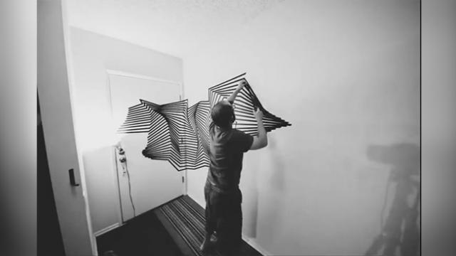 This Guys Tape Art Installation Creates Mind-Blowing
