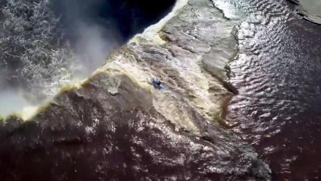 LiveLeak __ Incredible drone footage shows kayaker going off 110ft waterfall_Medium