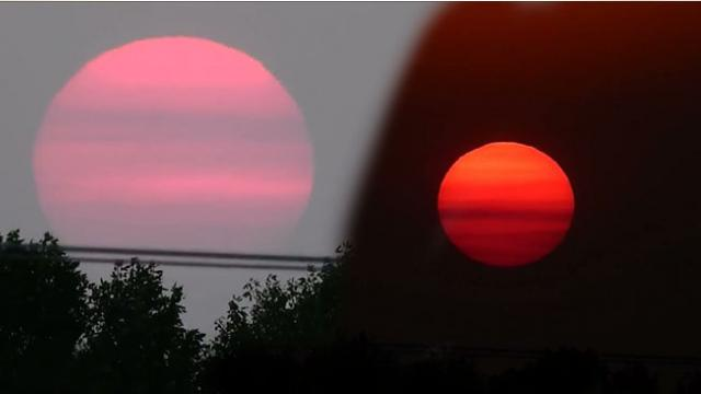 Beautiful Sunset Casts Red And Pink Colors
