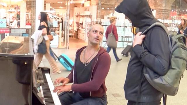 Tough Guy Approached At Piano With Unusual Song Request