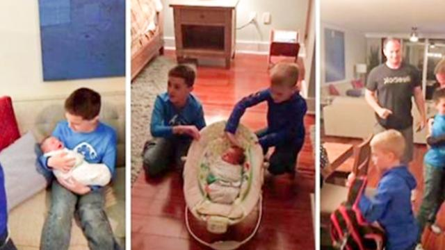 Sons Jump With Joy As Parents Surprise Them With New Adopted Baby Brother