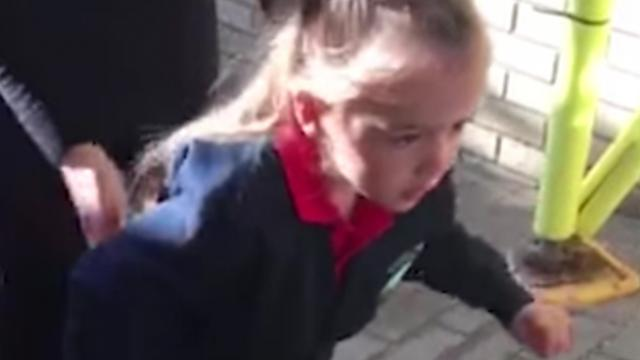 Mille Bea Hughes Walks For First Time On First Day Of School