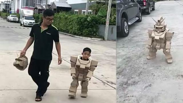 Thais engineer dad has great idea to make his little boy's robot dream come true with 13 kg of carto