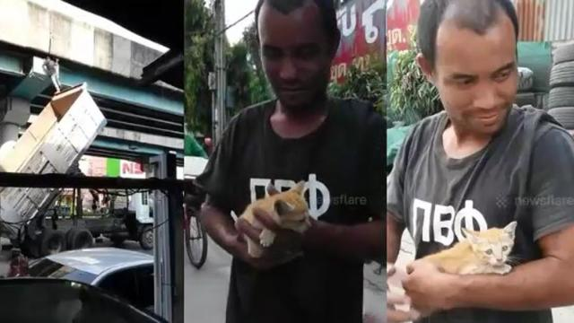 Truck driver uses hydraulic lift to rescue kitten stuck under