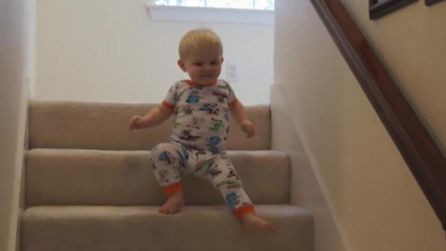 Baby Liam Laughing Down the Stairs