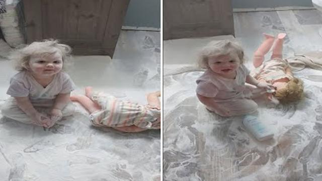Adorable Toddler Covers Herself In Talc