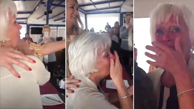 Woman moved by surprise birthday party But when she sees
