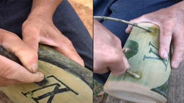 60-year-old man turns ugly bamboo into fancy LV handbag