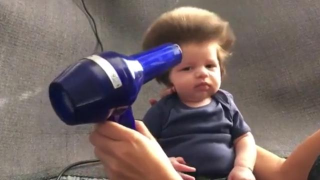 Nine-Week-Old Baby Has A Full Head Of Bouffant Hair