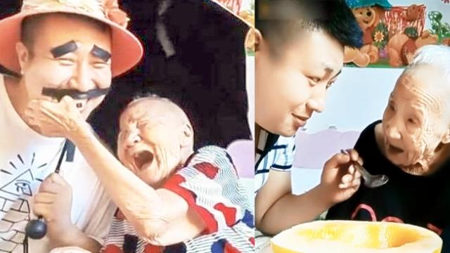 This grandma is sick but not lonely—her devoted grandson takes care of her and makes her happy