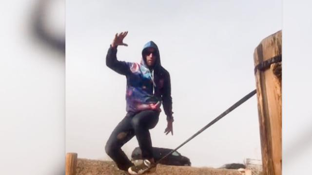 Watch- Silky slackline dancer shows off skills