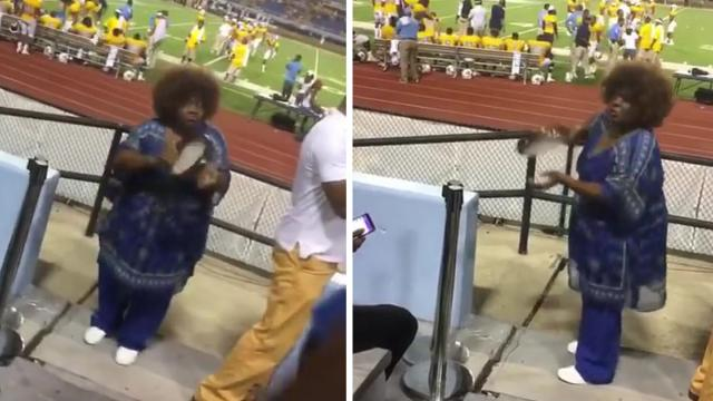 Grandma Shows Off Impressive Tambourine Skills at Football Game [zq_T_uVxIWo]