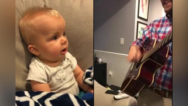 Baby Reacts To Hearing Dads Guitar For The First Time