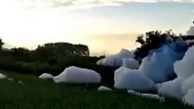 Chinese village beset by giant mass of soap suds