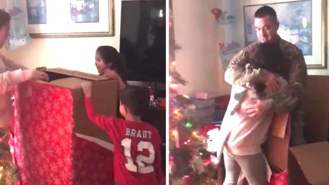 Mother Tells Kids To Open Big Present by Tree, Soldier Dad