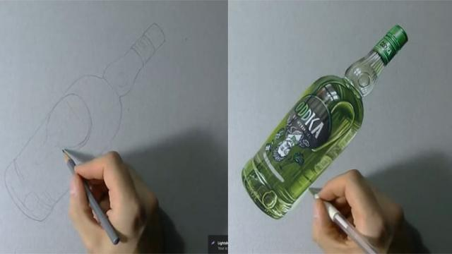 Drawing timelapse_ a bottle of Oddka - hyperrealistic art_Trim