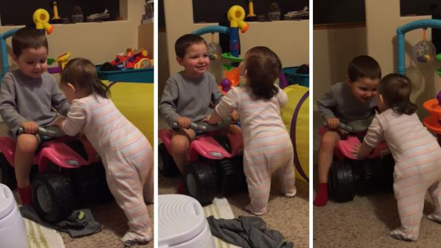 Elijah giving his sister some encouragement
