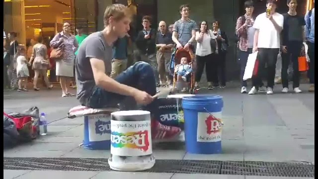 This incredible talent is drumming on buckets and the sound
