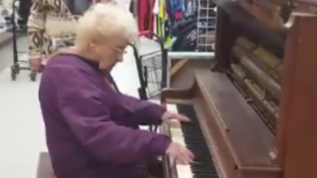 Watch Elderly Woman Sits Down at Thrift Shop Piano,