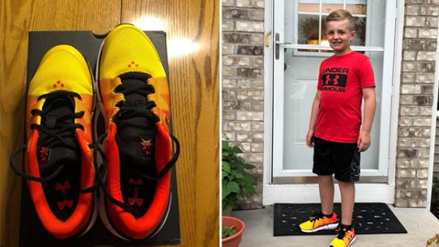 Under Armour manager buys shoes for boy