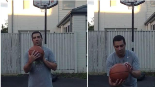 Daughter makes huge bet with Dad in blind basketball shot,