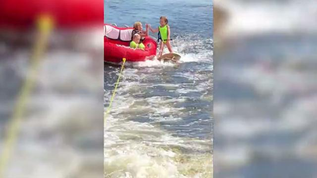 Like a duck to water 3-year-old girl is natural water skier