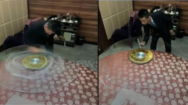 Chinese waiter brings table cleaning skills to a new level