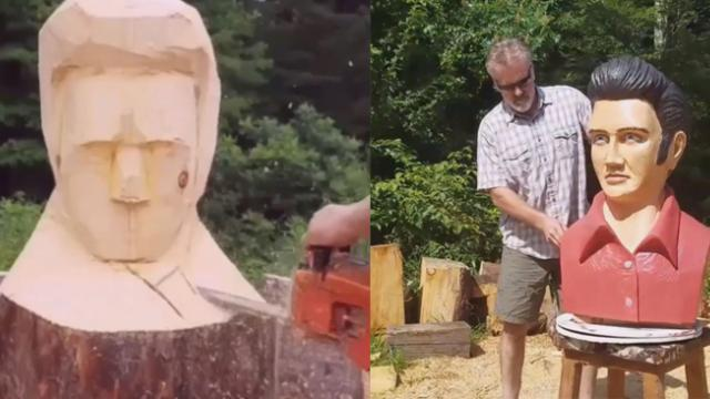 The man sculpted a log by saw, spectacular finished product made people admire