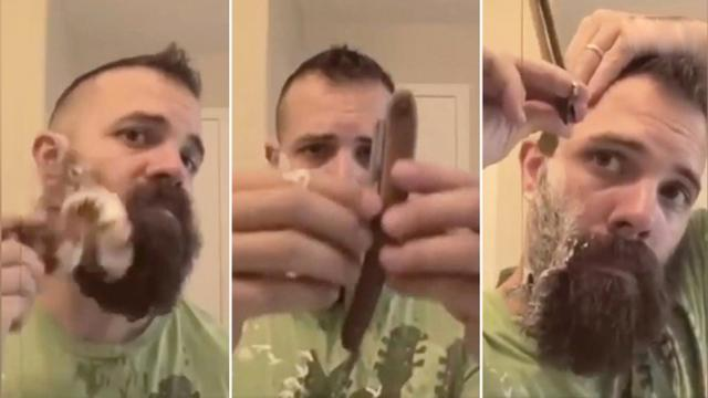 Man grows beard for 6 months When it's time to shave it